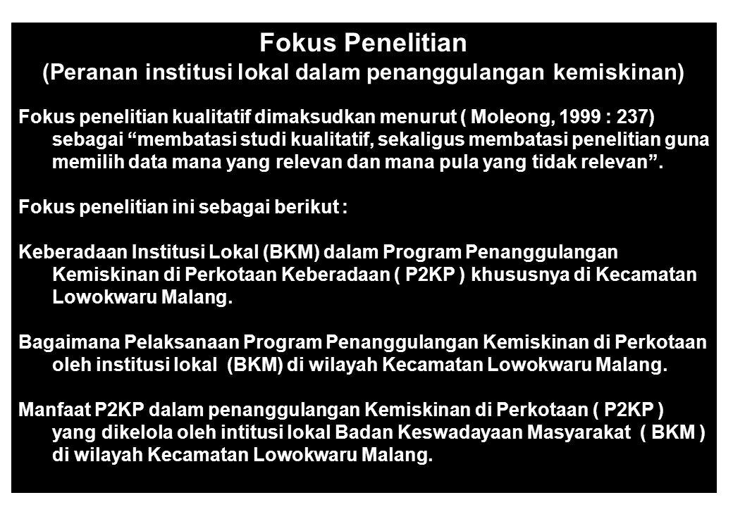 (Peranan institusi lokal dalam penanggulangan kemiskinan)
