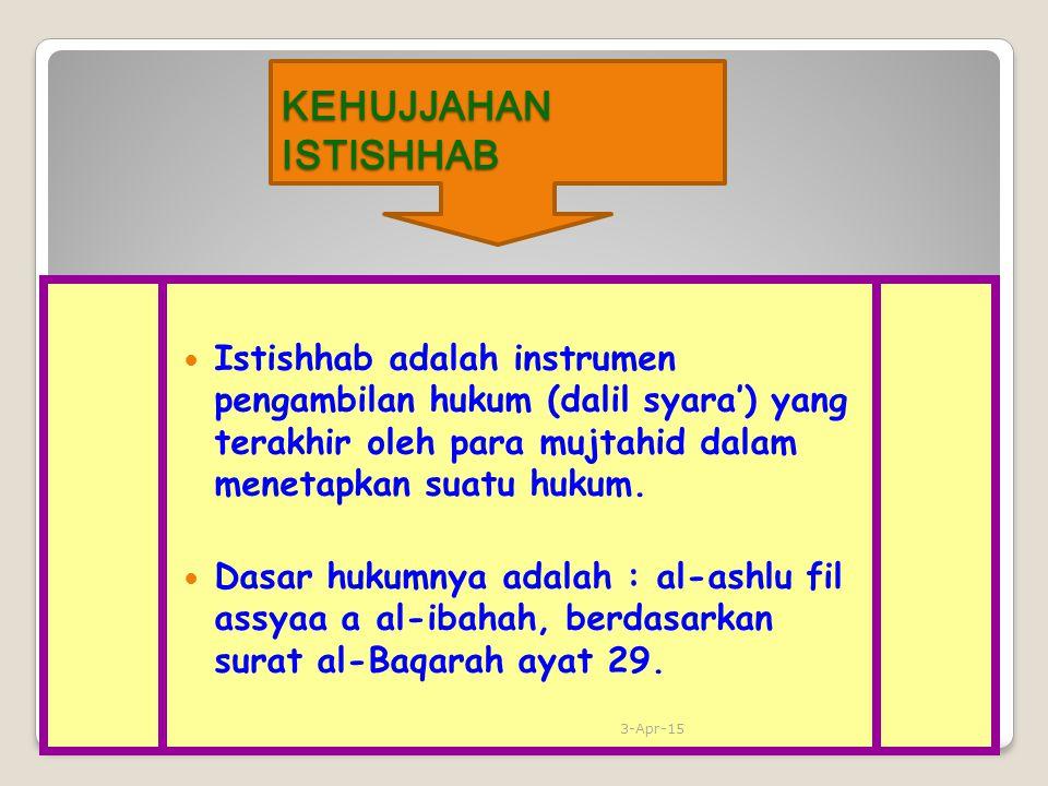 KEHUJJAHAN ISTISHHAB Istishhab adalah instrumen pengambilan hukum (dalil syara') yang terakhir oleh para mujtahid dalam menetapkan suatu hukum.