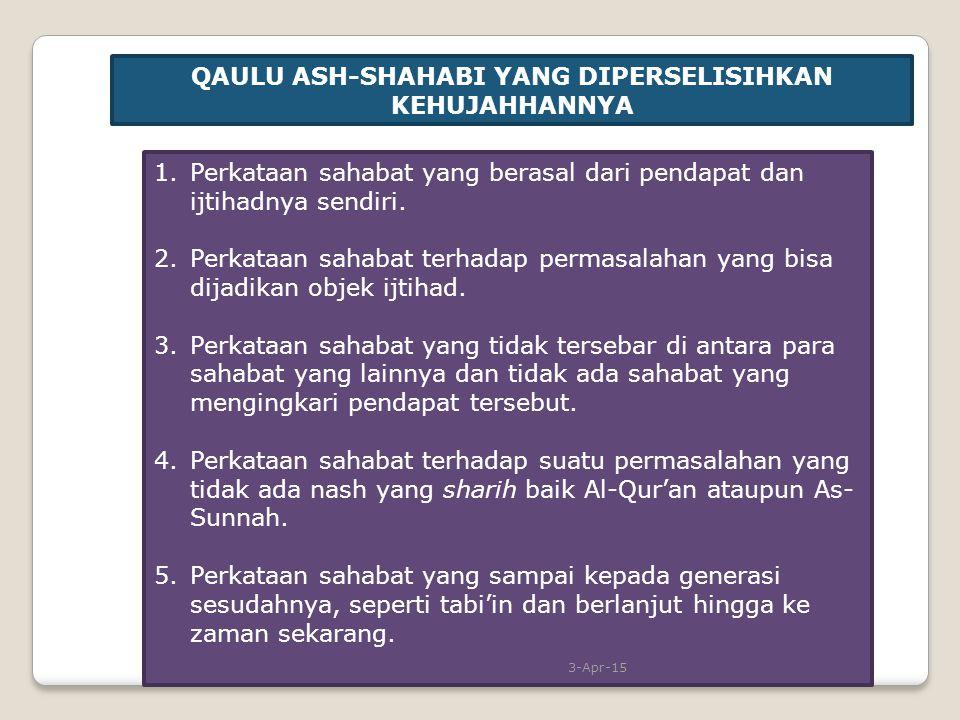 QAULU ASH-SHAHABI YANG DIPERSELISIHKAN KEHUJAHHANNYA