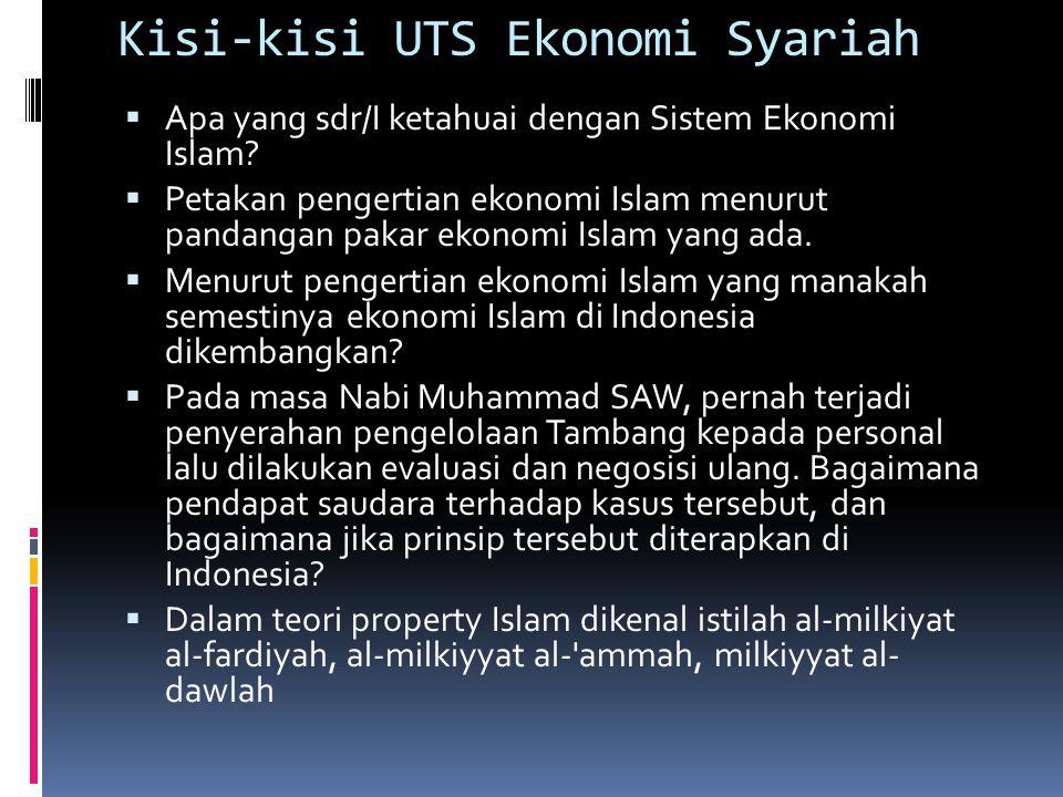Kisi-kisi UTS Ekonomi Syariah