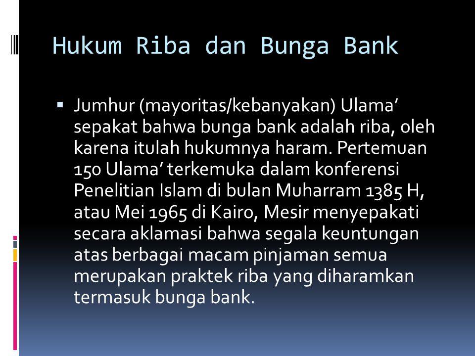 Hukum Riba dan Bunga Bank