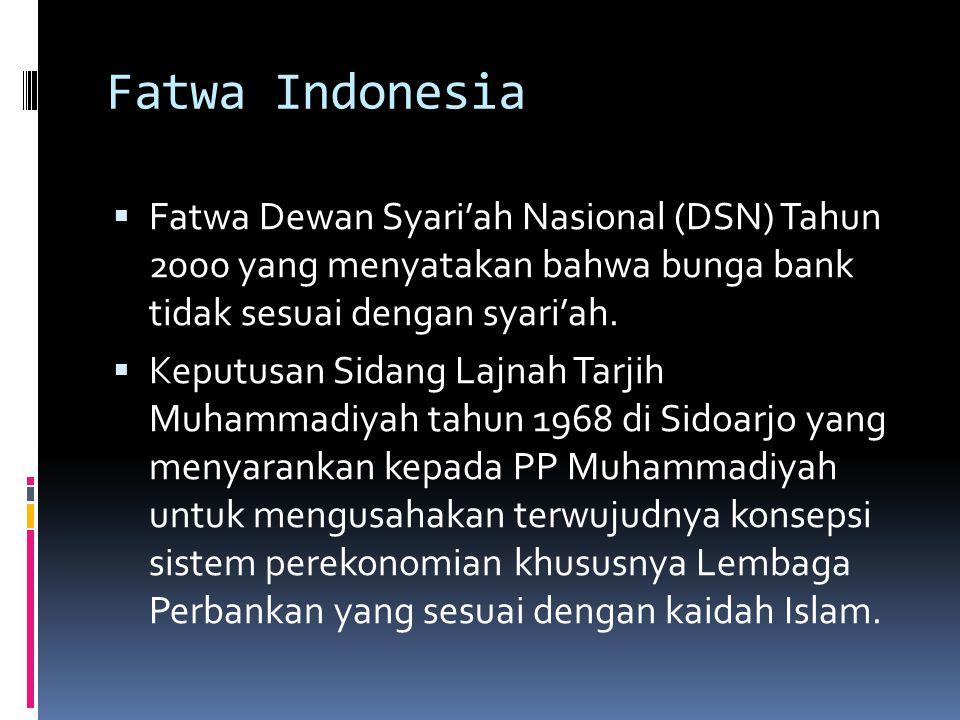 Fatwa Indonesia Fatwa Dewan Syari'ah Nasional (DSN) Tahun 2000 yang menyatakan bahwa bunga bank tidak sesuai dengan syari'ah.