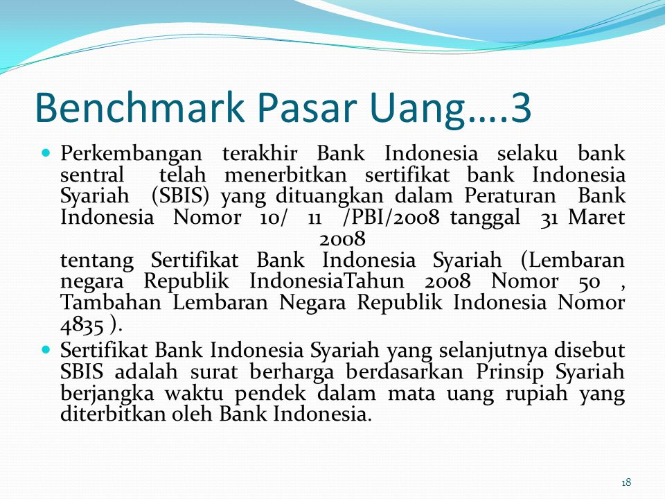 Benchmark Pasar Uang….3
