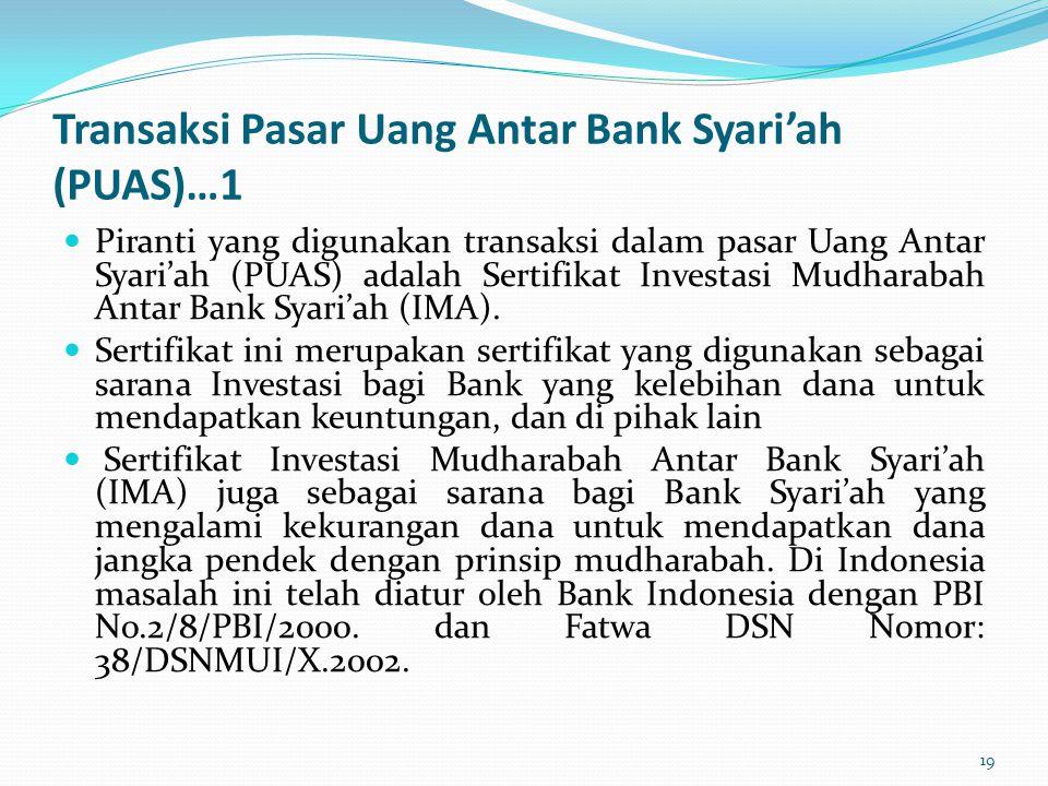 Transaksi Pasar Uang Antar Bank Syari'ah (PUAS)…1