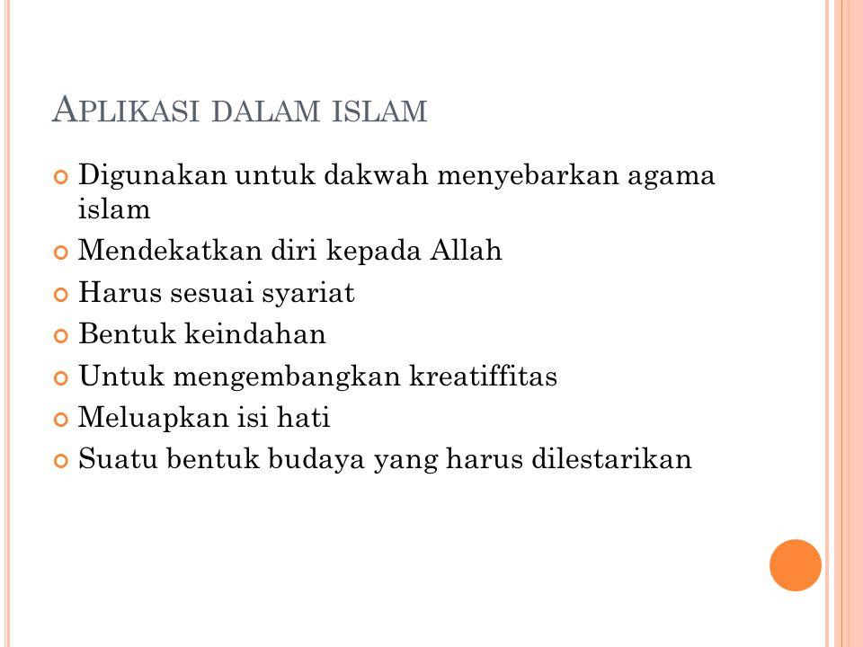 Aplikasi dalam islam Digunakan untuk dakwah menyebarkan agama islam