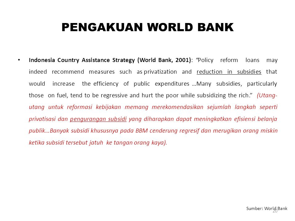PENGAKUAN WORLD BANK