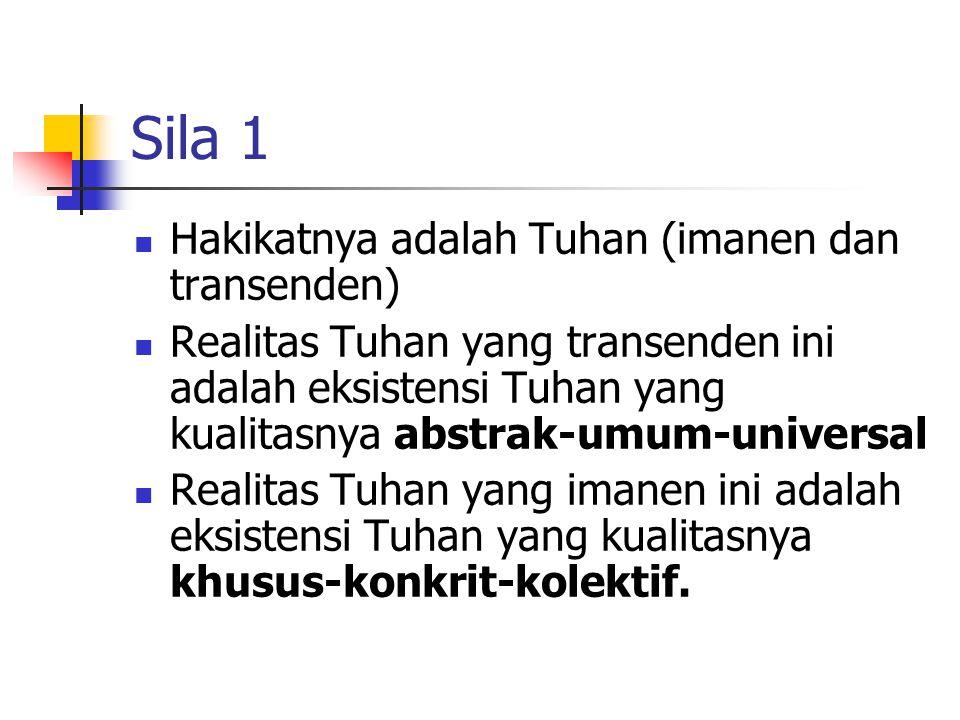 Sila 1 Hakikatnya adalah Tuhan (imanen dan transenden)