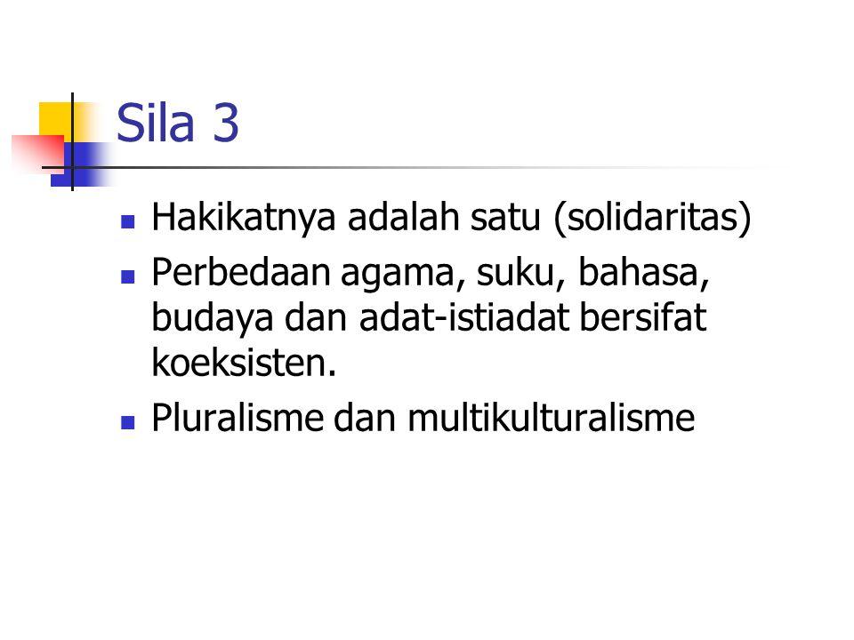 Sila 3 Hakikatnya adalah satu (solidaritas)