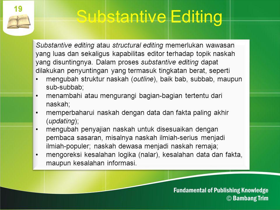 19 Substantive Editing.
