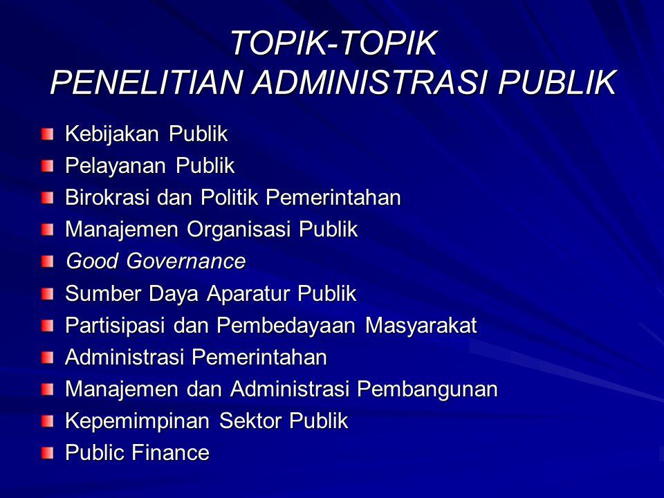 TOPIK-TOPIK PENELITIAN ADMINISTRASI PUBLIK