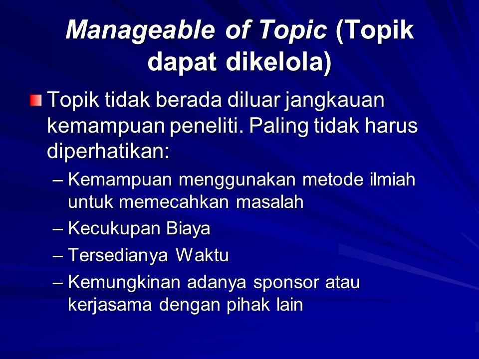 Manageable of Topic (Topik dapat dikelola)