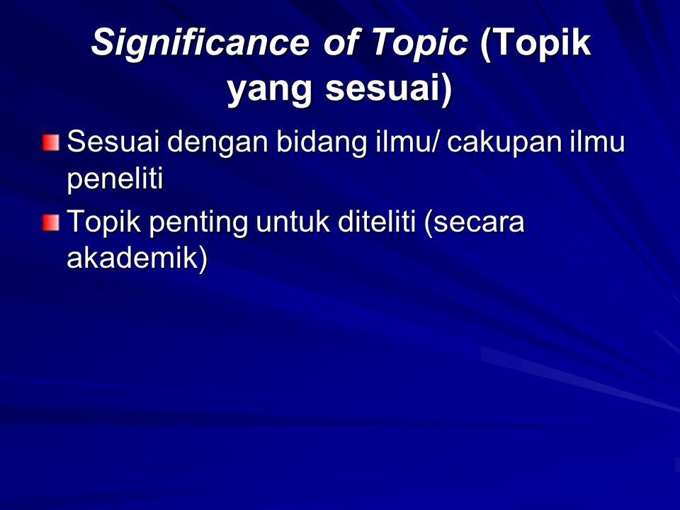 Significance of Topic (Topik yang sesuai)