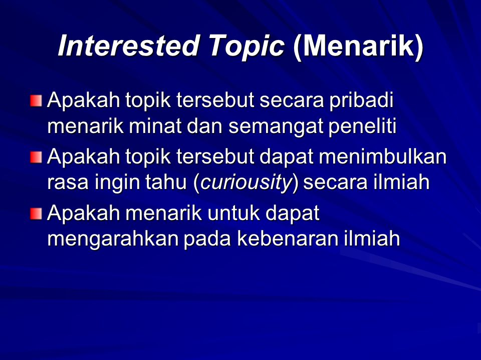 Interested Topic (Menarik)