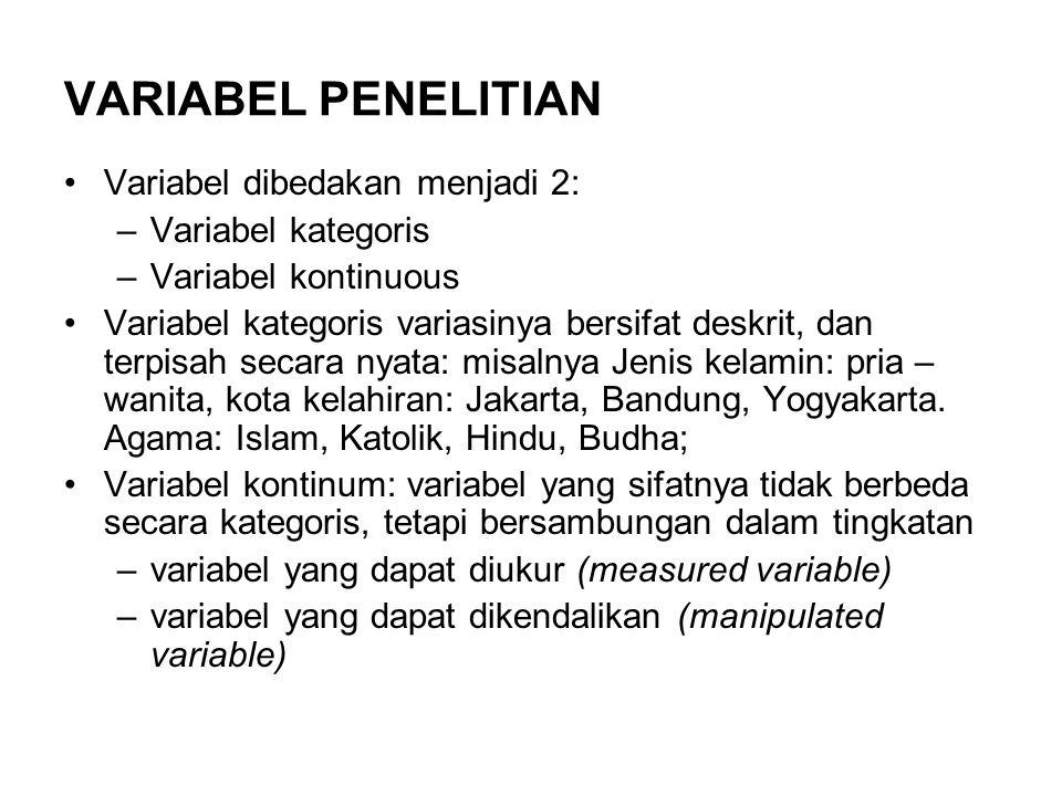 VARIABEL PENELITIAN Variabel dibedakan menjadi 2: Variabel kategoris