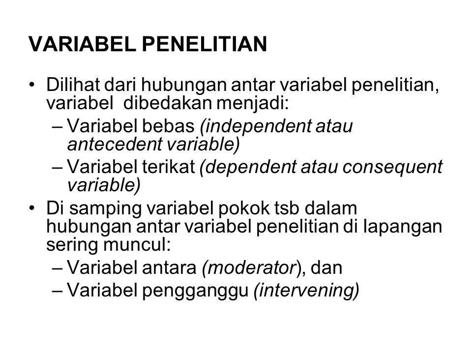 VARIABEL PENELITIAN Dilihat dari hubungan antar variabel penelitian, variabel dibedakan menjadi: