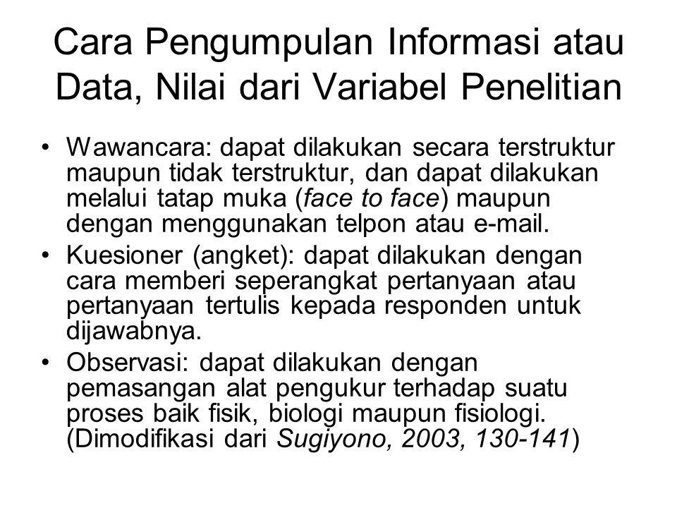 Cara Pengumpulan Informasi atau Data, Nilai dari Variabel Penelitian