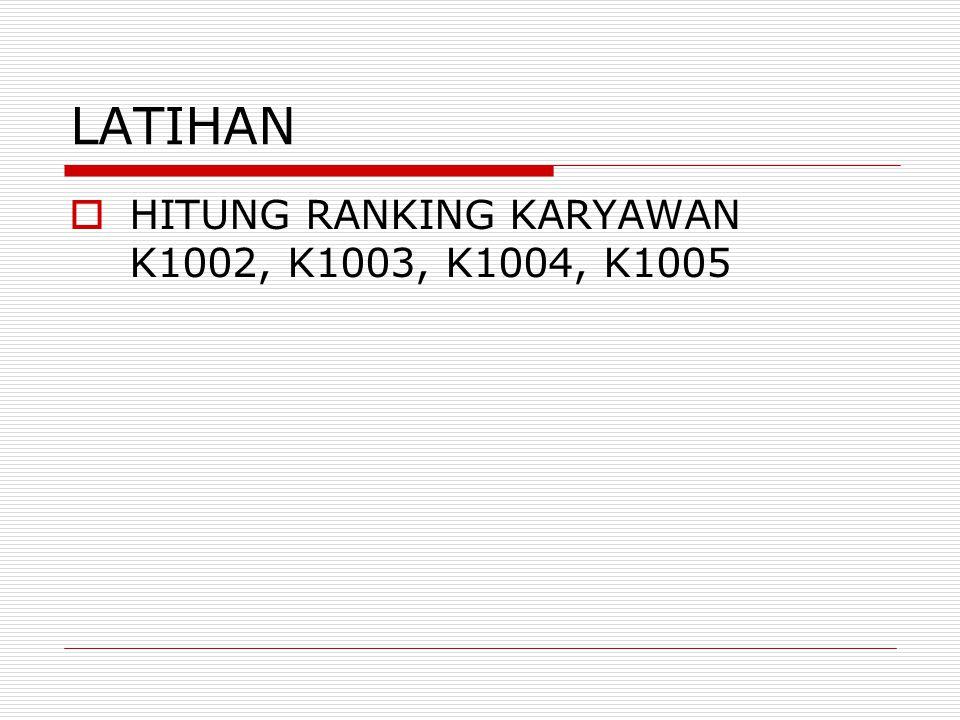 LATIHAN HITUNG RANKING KARYAWAN K1002, K1003, K1004, K1005
