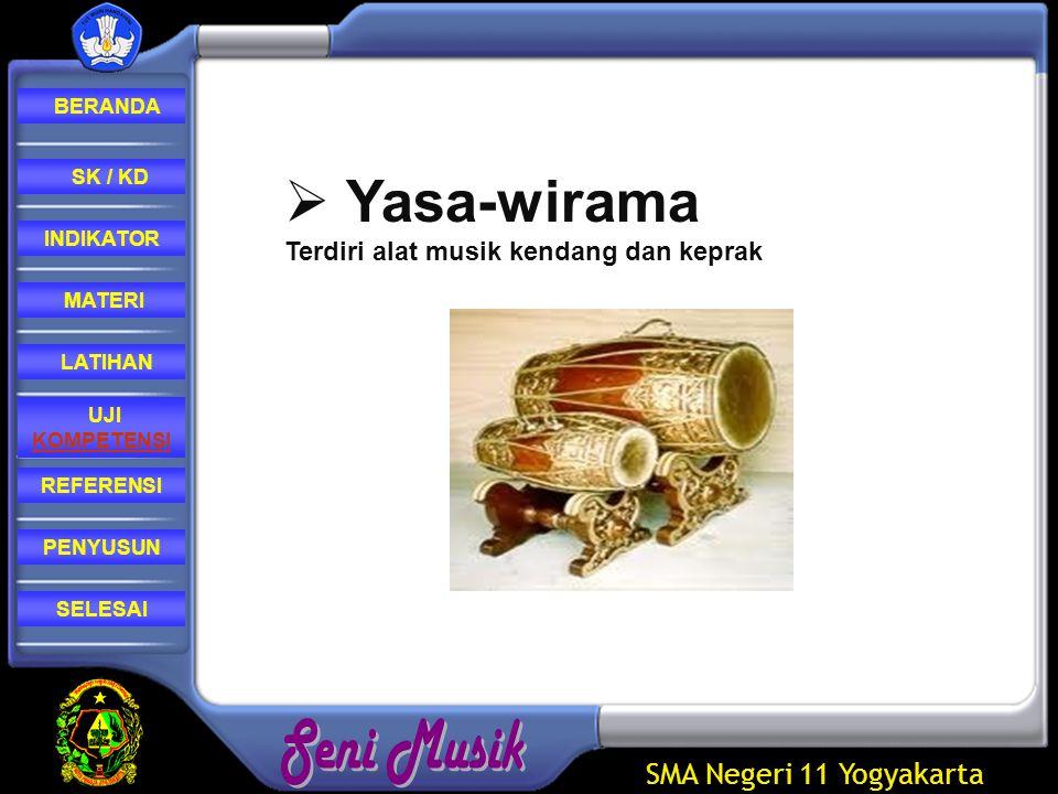 Yasa-wirama Terdiri alat musik kendang dan keprak