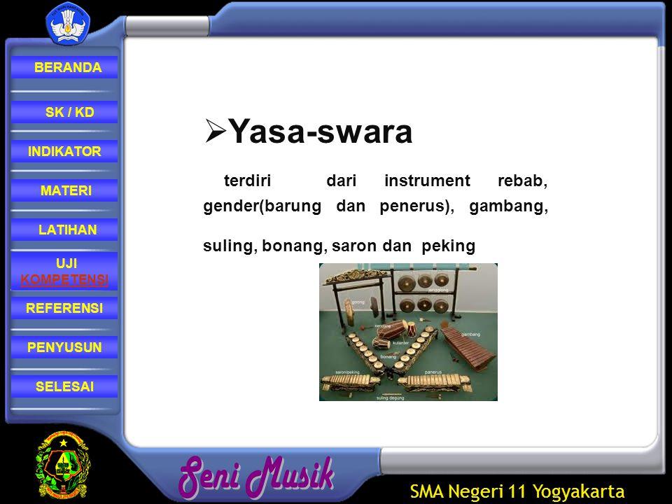 Yasa-swara terdiri dari instrument rebab, gender(barung dan penerus), gambang, suling, bonang, saron dan peking.