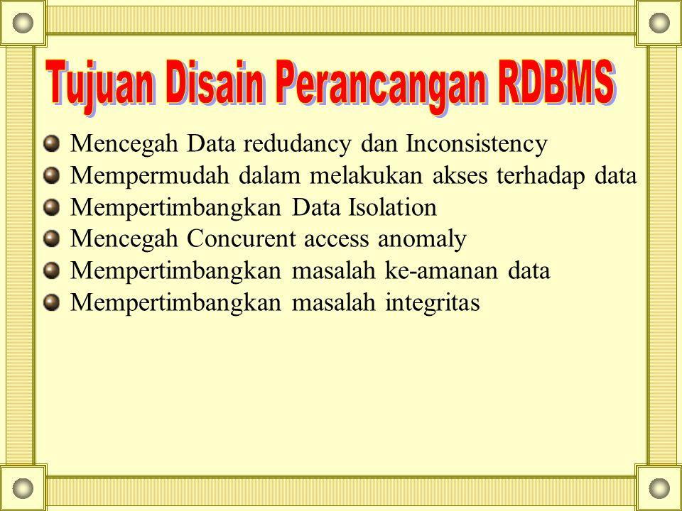 Tujuan Disain Perancangan RDBMS