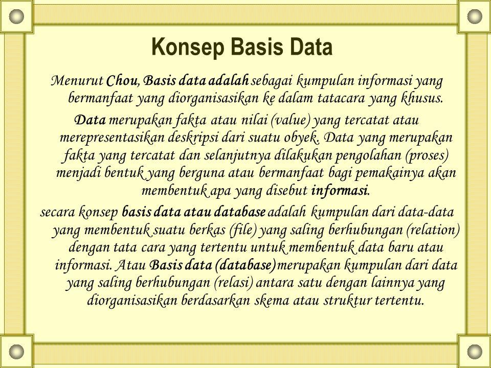 Konsep Basis Data Menurut Chou, Basis data adalah sebagai kumpulan informasi yang bermanfaat yang diorganisasikan ke dalam tatacara yang khusus.