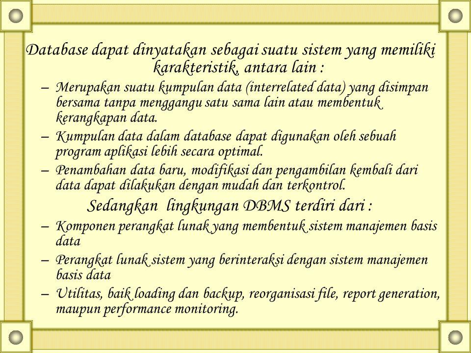 Sedangkan lingkungan DBMS terdiri dari :