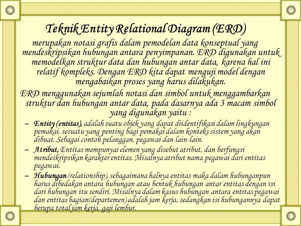 Teknik Entity Relational Diagram (ERD)