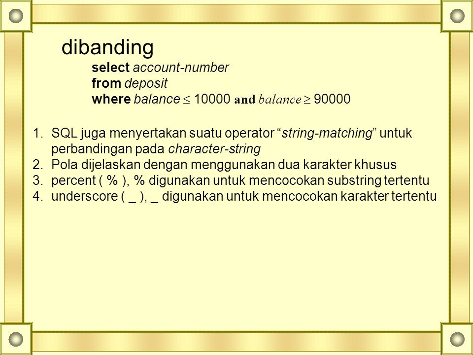 dibanding select account-number from deposit