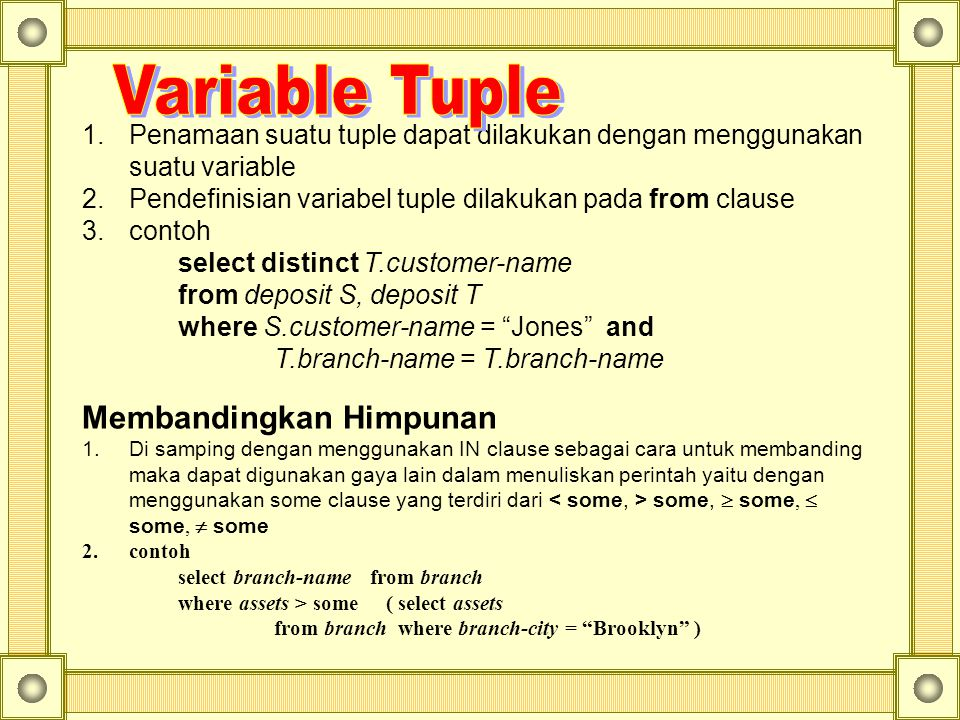 Variable Tuple Membandingkan Himpunan