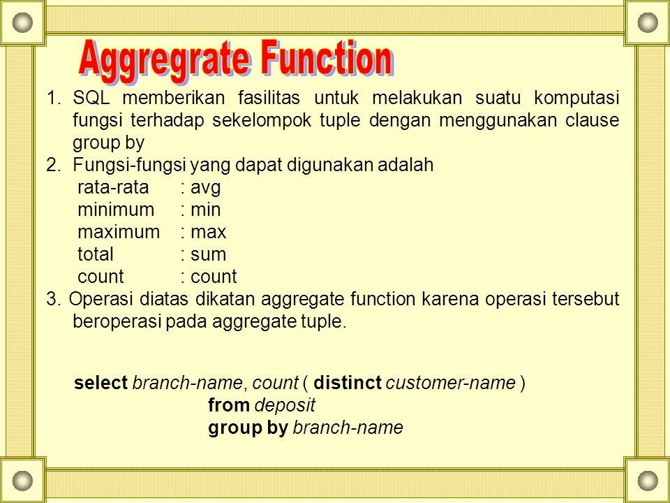 SQL memberikan fasilitas untuk melakukan suatu komputasi fungsi terhadap sekelompok tuple dengan menggunakan clause group by