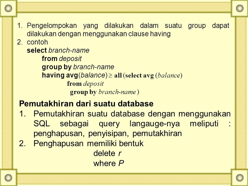 Pemutakhiran dari suatu database