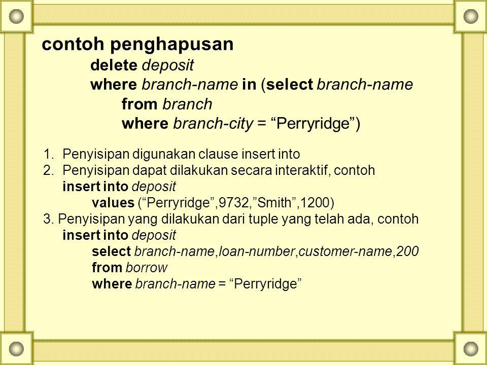 contoh penghapusan delete deposit