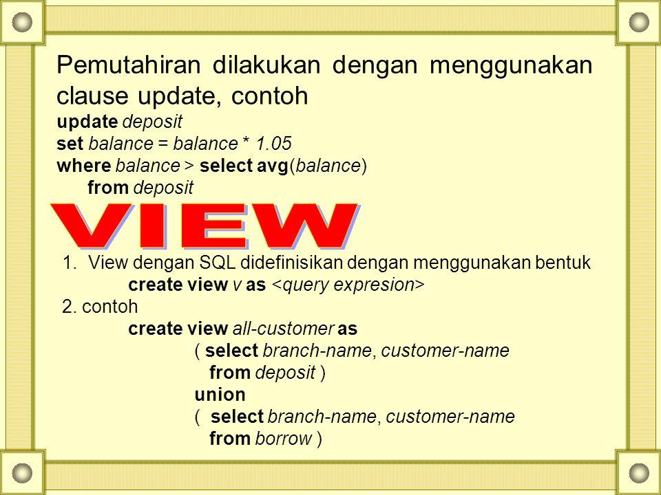 VIEW Pemutahiran dilakukan dengan menggunakan clause update, contoh