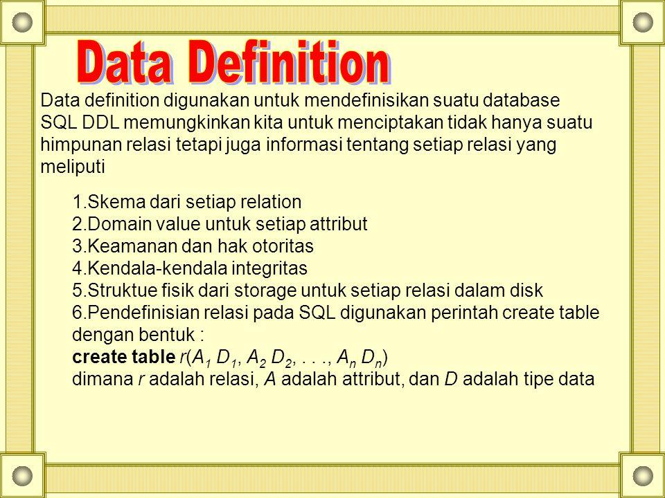 Data definition digunakan untuk mendefinisikan suatu database
