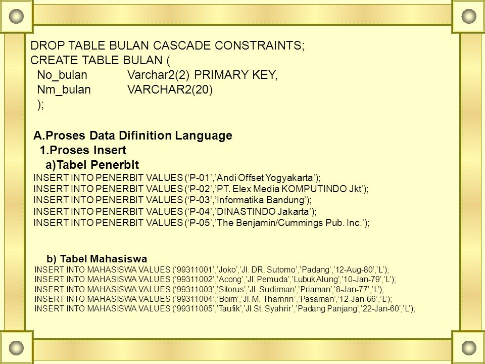 DROP TABLE BULAN CASCADE CONSTRAINTS; CREATE TABLE BULAN (