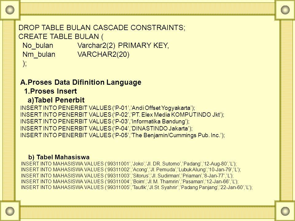 DROP TABLE BULAN CASCADE CONSTRAINTS; CREATE TABLE BULAN (