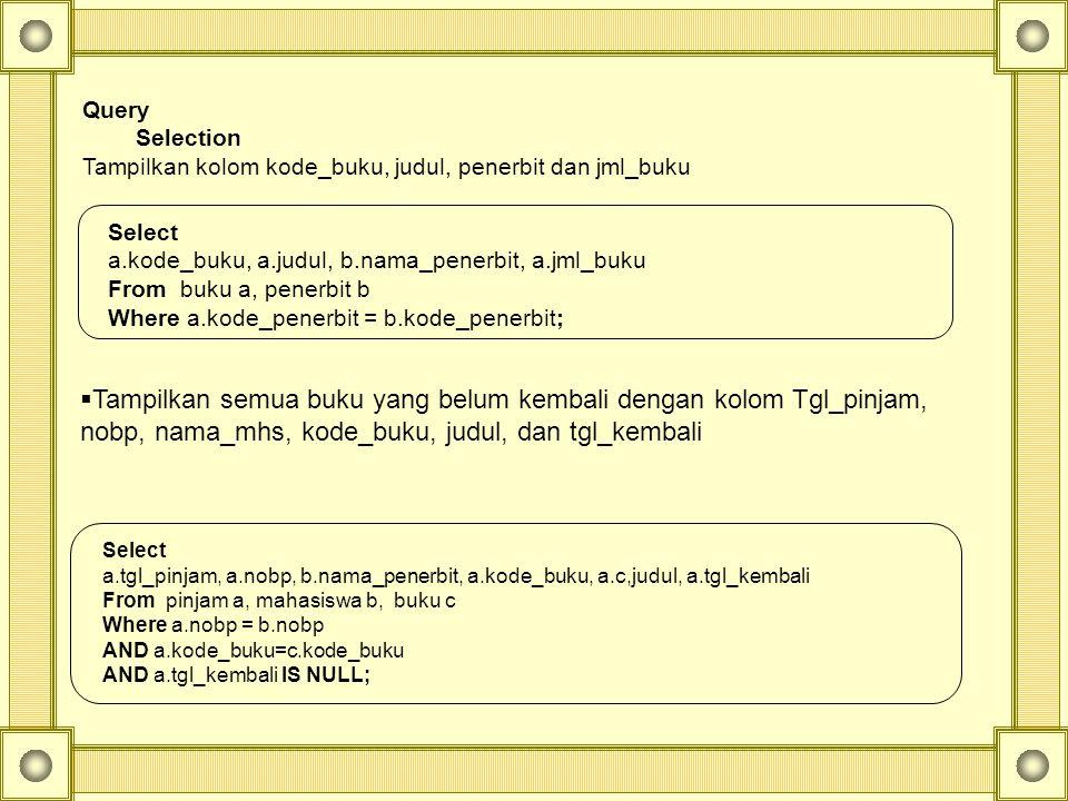Query Selection. Tampilkan kolom kode_buku, judul, penerbit dan jml_buku. Select. a.kode_buku, a.judul, b.nama_penerbit, a.jml_buku.