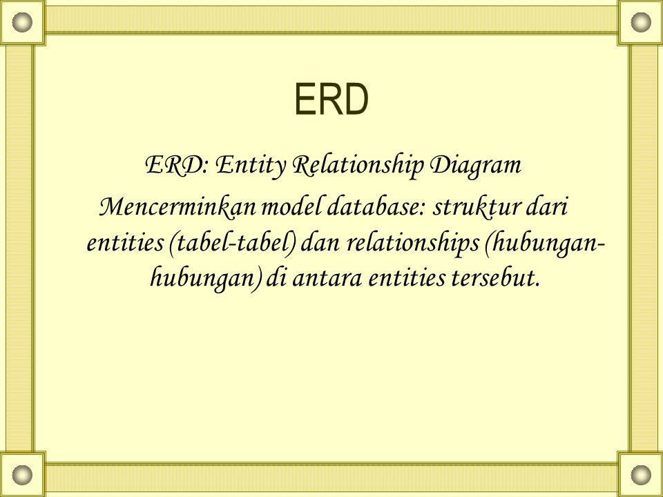 ERD: Entity Relationship Diagram