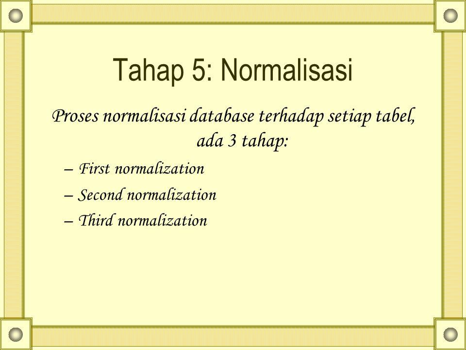 Proses normalisasi database terhadap setiap tabel, ada 3 tahap: