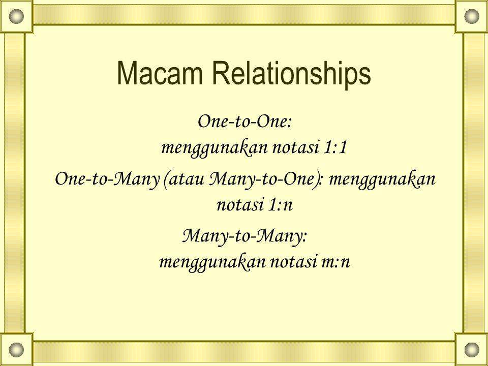 Macam Relationships One-to-One: menggunakan notasi 1:1