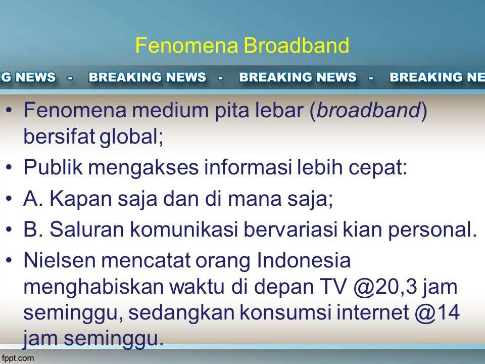 Fenomena Broadband Fenomena medium pita lebar (broadband) bersifat global; Publik mengakses informasi lebih cepat: