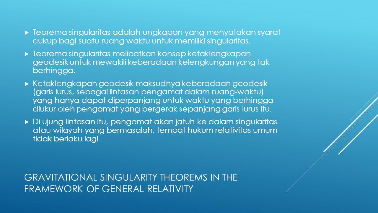 Teorema singularitas adalah ungkapan yang menyatakan syarat cukup bagi suatu ruang waktu untuk memiliki singularitas.