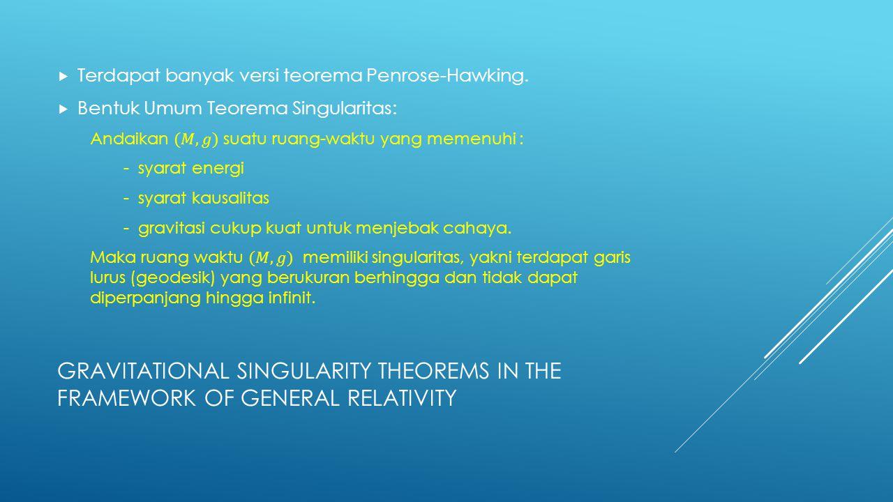 Terdapat banyak versi teorema Penrose-Hawking.