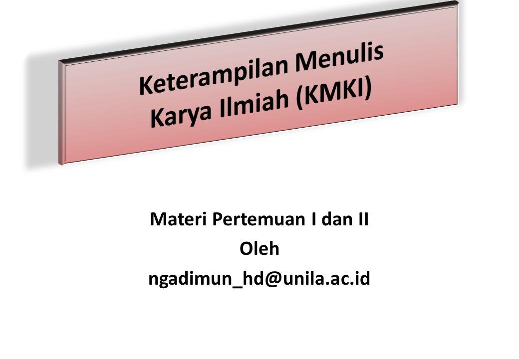 Keterampilan Menulis Karya Ilmiah (KMKI)