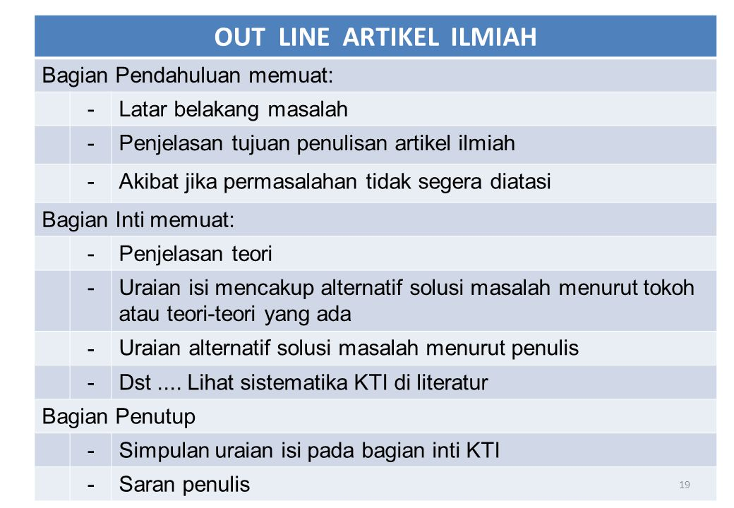 OUT LINE ARTIKEL ILMIAH
