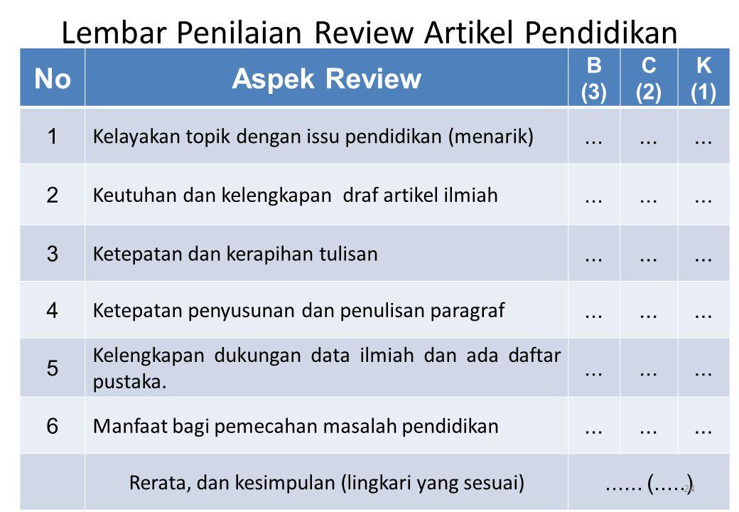 Lembar Penilaian Review Artikel Pendidikan