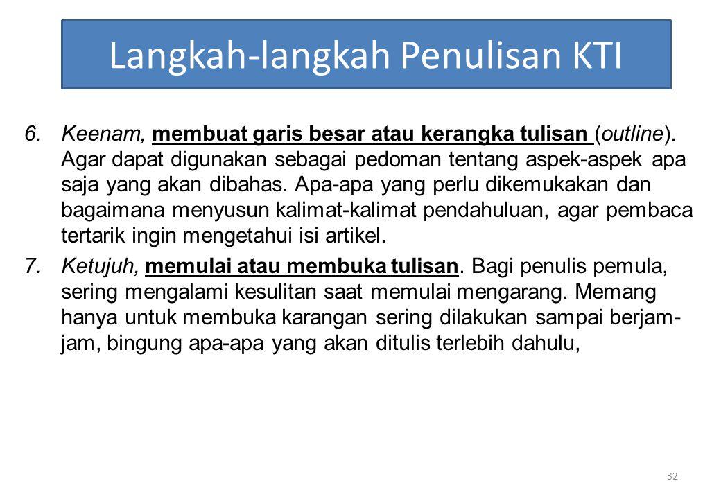 Langkah-langkah Penulisan KTI