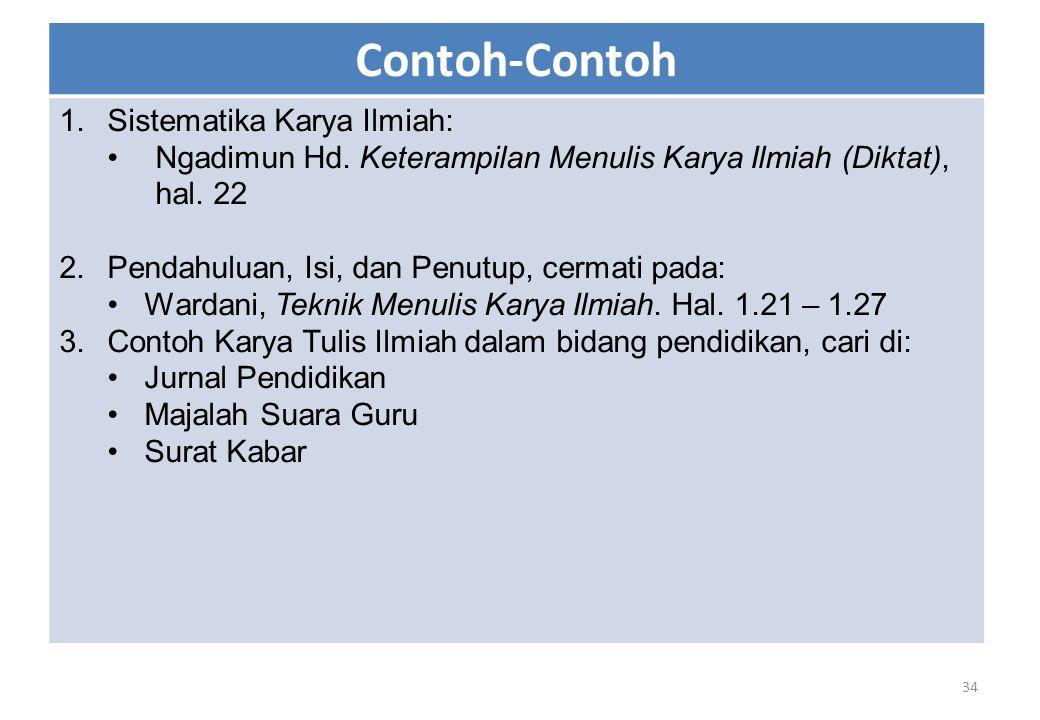 Contoh-Contoh Sistematika Karya Ilmiah: