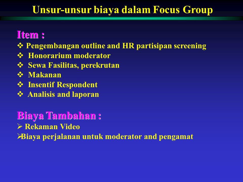 Unsur-unsur biaya dalam Focus Group