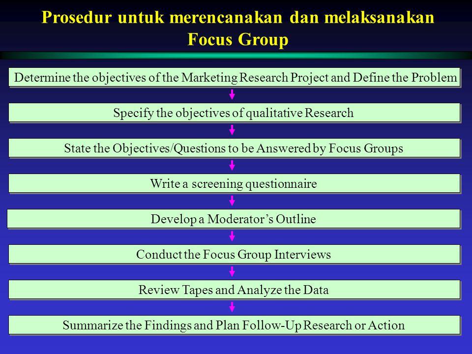 Prosedur untuk merencanakan dan melaksanakan Focus Group